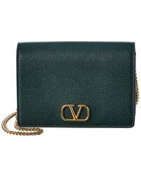 Valentino Valentino Garavani Vlogo Leather Wallet On Chain - Green