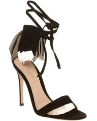 Gianvito Rossi Feather 100 Suede Sandal - Black