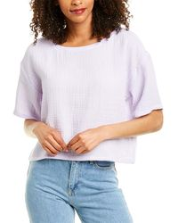 Eileen Fisher Lofty Gauze Boxy Top - White