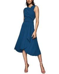 Reiss Marling Wrap Front Midi Dress - Blue
