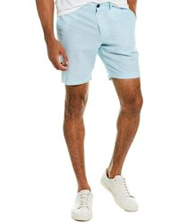 Original Penguin Slim Geo Linen-blend Short - Blue