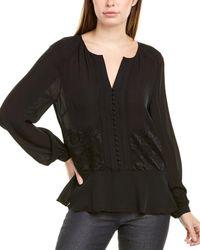 Nicole Miller Lace-paneled Silk-blend Blouse - Black