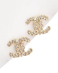 Chanel Gold-tone Rhinestone Clip-on Studs - Metallic