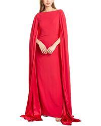 Carolina Herrera Bateau Neck Silk Sheath Cape Gown - Red