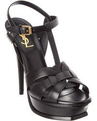 Saint Laurent Tribute 105 Leather Platform Sandal - Black
