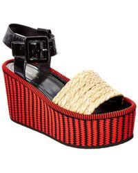 Celine Fabric & Patent Espadrille Platform Wedge - Red