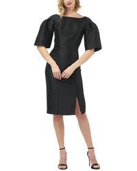 Kay Unger Eva Drop-shoulder Mikado Sheath Dress W/ Front Slit - Black