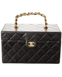 Chanel Black Quilted Lambskin Leather Vanity Box