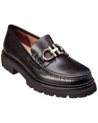 Ferragamo Gancini Reversible-bit Leather Brogues - Black