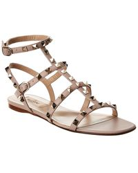 Valentino Rockstud Caged Leather Ankle Strap Sandal - Brown