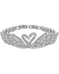 Swarovski Crystal Swan Lake Rhodium Plated Bracelet - Metallic