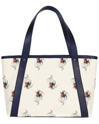 NEELY & CHLOE The Chicken Print Leather Travel Tote - Blue