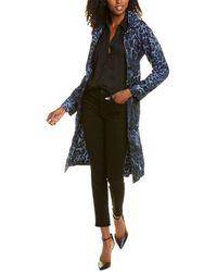 Samantha Sung Beverly Silk Rain Coat - Blue