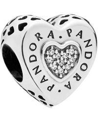 bc2a9eef9 PANDORA Silver Bead Sparkling Mickey Hearts Disney Cz Charm 791457cz - Lyst