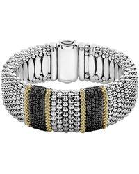 Lagos Diamond Lux Black Diamond Wide Bracelet - Metallic