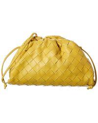 Bottega Veneta The Pouch Small Intrecciato Leather Clutch - Yellow