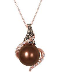Le Vian ? 14k Strawberry Gold? 0.14 Ct. Tw. Diamond 10-11mm Pearl Pendant Necklace - Metallic