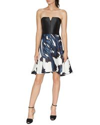 Halston Strapless Notch Neck Printed Dress - Blue
