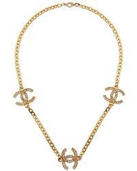 Chanel Gold-tone Triple Coco Rhinestone Necklace - Metallic