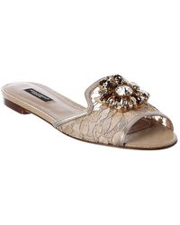 Dolce & Gabbana Bianca Lace Sandal - Metallic