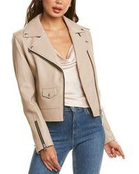 Mackage Baya-r Leather Moto Jacket - Natural