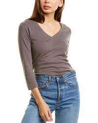 Three Dots V-neck 3/4-length T-shirt - Multicolor