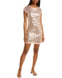 Vince Camuto Chevron Sequin Midi Dress - Pink