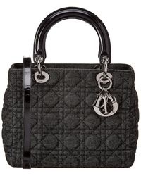 Dior Christian Black Quilted Canvas Medium Lady