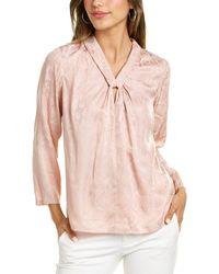 Rebecca Taylor Snake Jacquard Silk-blend Top - Pink