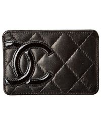 Chanel Black Quilted Calfskin Leather Card Holder