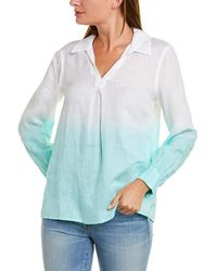 Vince Camuto Split Neck Linen Shirt - White