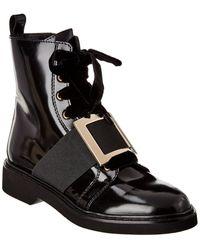 Roger Vivier Viv Rangers Metal Buckle Patent Ankle Boot - Black