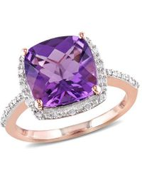 Rina Limor 10k Rose Gold 3.60 Ct. Tw. Diamond & Amethyst Ring - Purple