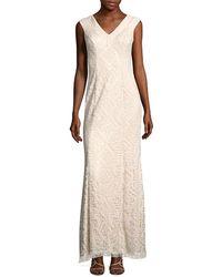 Tadashi Shoji Semi-sheer Overlay Dress - White