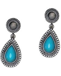 Gottex - Silver Plated Turquoise & Crystal Drop Earrings - Lyst