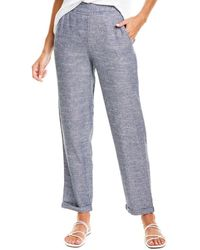 Max Studio Striped Linen-blend Pant - Blue