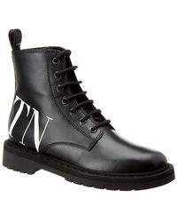 Valentino Garavani Logo Print Leather Combat Boots - Black
