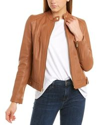 Cole Haan Racer Quilted Leather Jacket - Brown