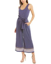 Max Studio Palm Print Jumpsuit - Blue