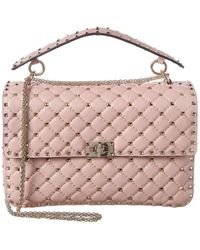 Valentino Rockstud Spike Large Leather Shoulder Bag - Pink