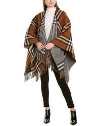 Burberry Reversible Leather-trim Check Wool Cape - Brown