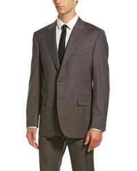 Canali Wool Suit With Flat Front Pant - Brown