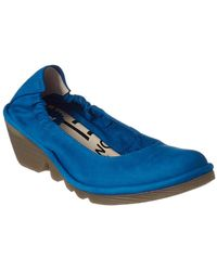 Fly London Pled Leather Wedge - Blue