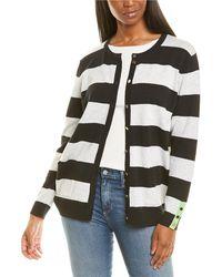 Joan Vass Petite Stripe Cardigan - Black