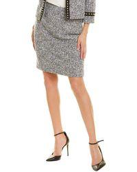 Tahari Tweed Pencil Skirt - Blue