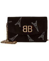 Balenciaga Bb Velvet Chain Wallet - Black
