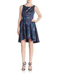 ABS By Allen Schwartz A.b.s. By Allen Schwartz Floral Jacquard Cutout A-line Dress - Blue