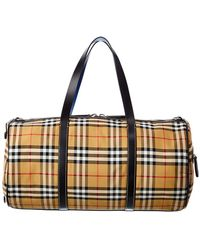 Burberry Medium Vintage Check Canvas & Leather Barrel Bag - Natural