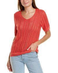 Velvet Heart Open Knit Top - Red