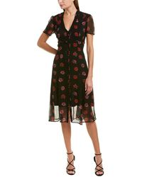 The Kooples Perseverance Silk Midi Dress - Multicolour